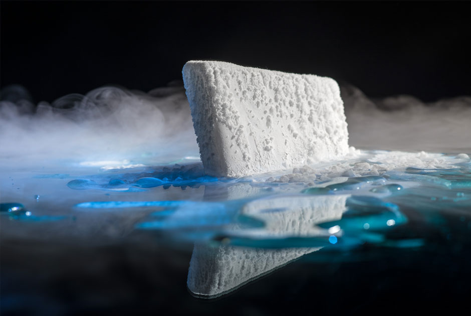 dry ice floating